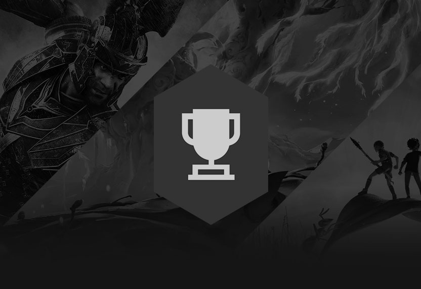 The Xbox Achievements trophy icon greyed out over black-and-white game art.