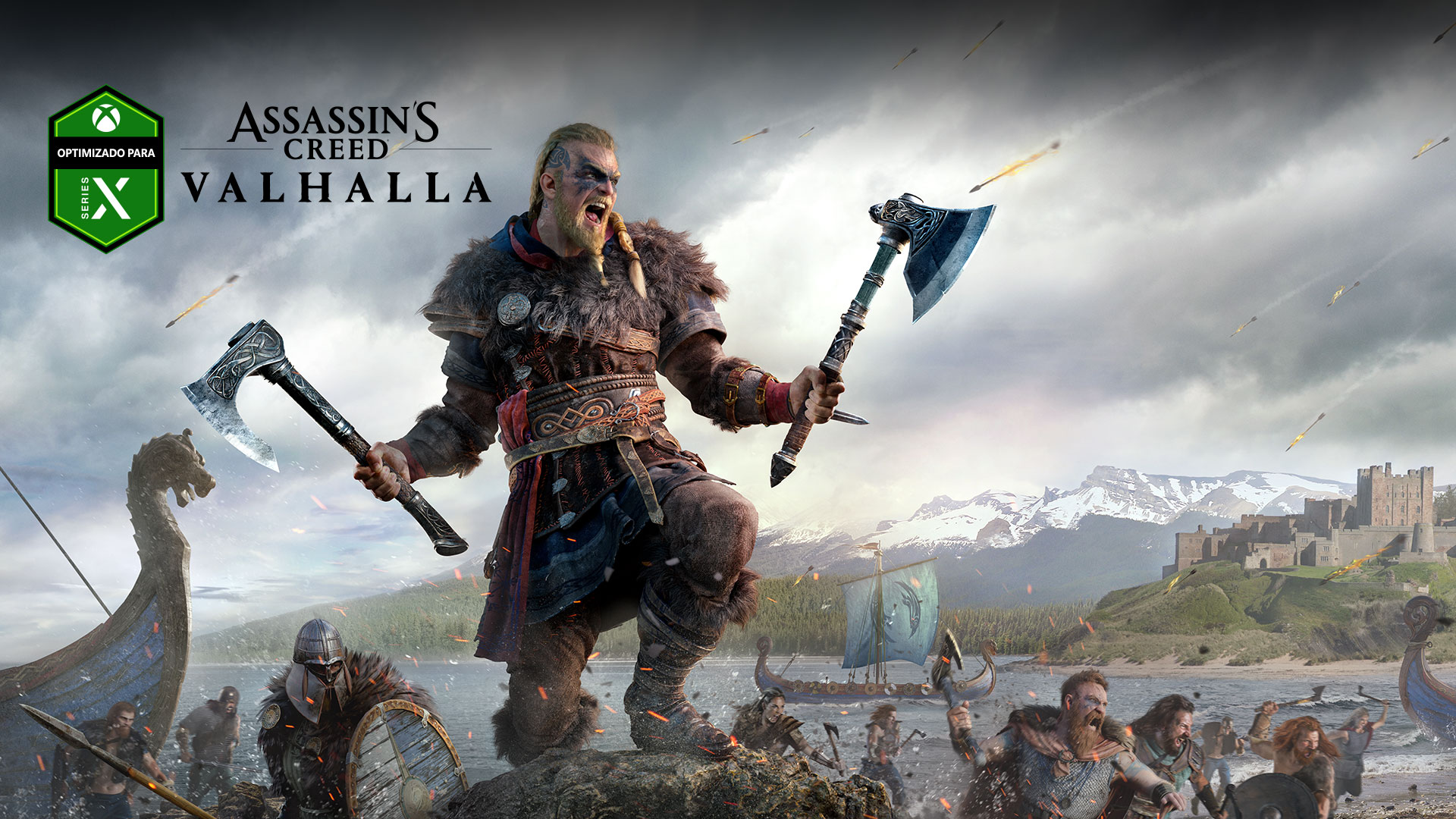 Logotipo de Optimizado para Xbox Series X, Assassin's Creed Valhalla, personaje con dos hachas durante una batalla