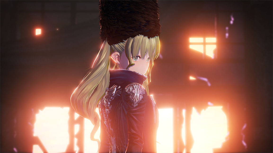 Female Code Vein character looks back over shoulder