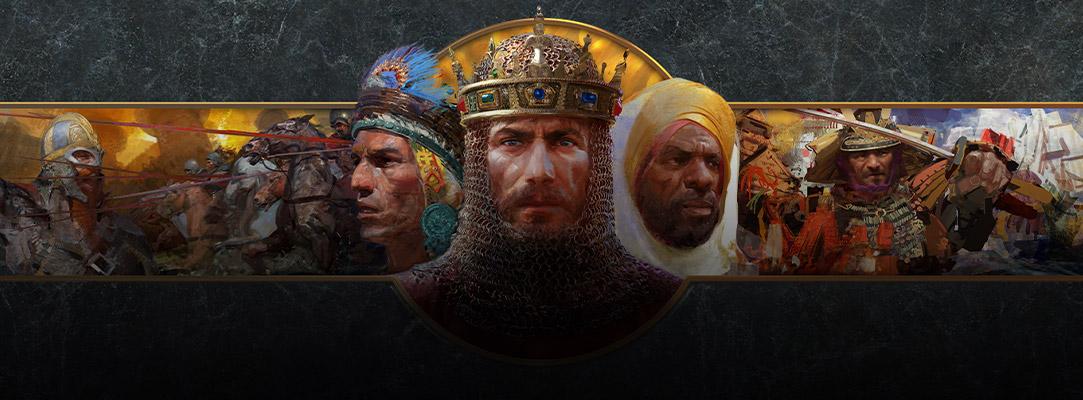 Collage av krigere fra ulike nasjoner foran en marmorbakgrunn