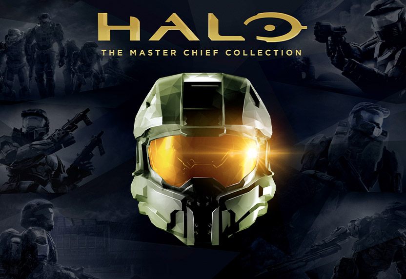 Halo: The Master Chief Collection, Front view of Master Chief's helmet with prior Halo game art in the background.