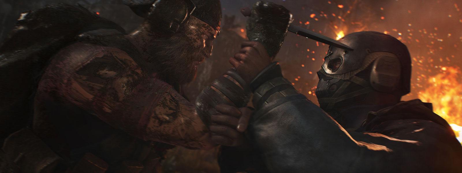 角色试图用刀刺伤蒙面人