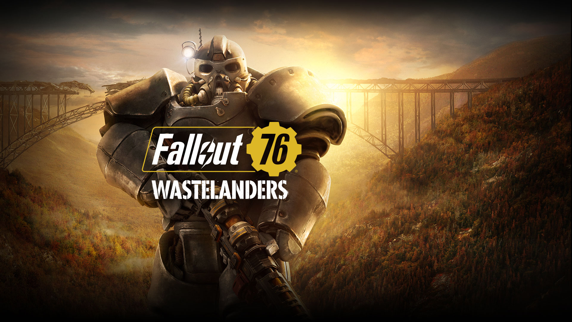 Fallout 76 Wastelanders, A character in Power Armor stands in front of a broken bridge between two hills