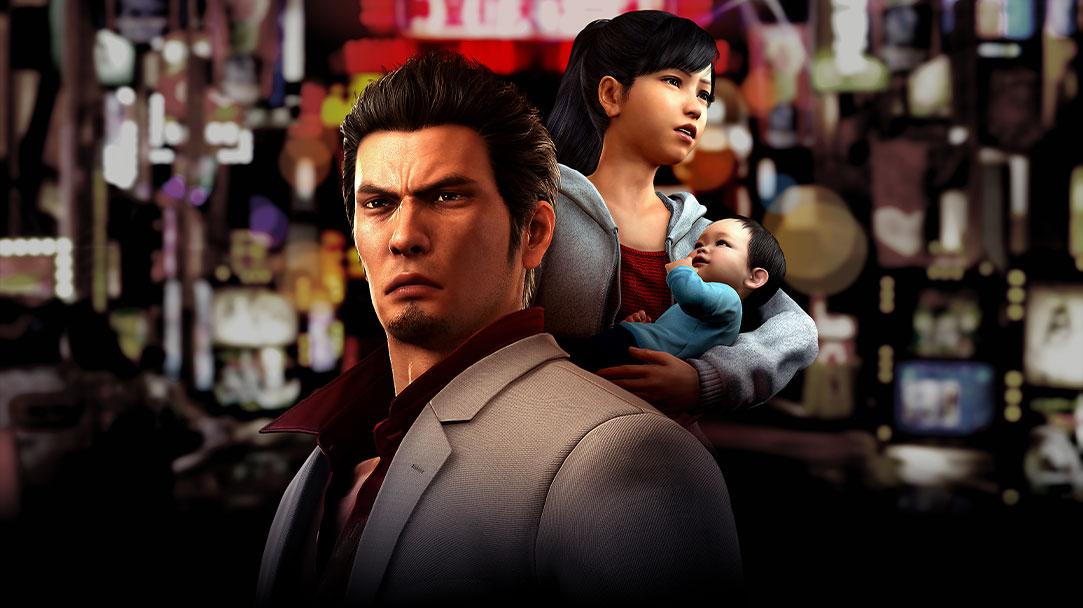 Kazuma, Haruka i mała Haruta na tle miasta.