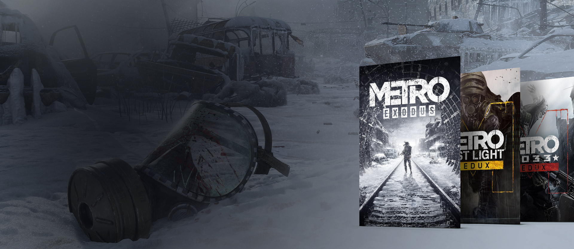 Metro Exodus, Metro 2033 Redux and Metro: Last Light Redux boxes in front of a snowy decimated town with a broken gas mask.