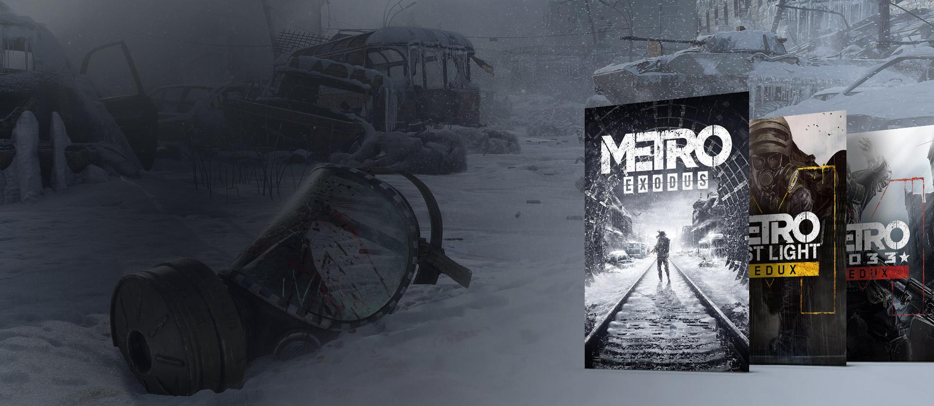 Metro Exodus-, Metro 2033 Redux- og Metro: Last Light Redux-esker foran en snødekt, redusert by med en ødelagt gassmaske.