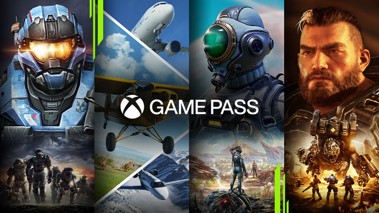 A selection of games available with Xbox Game Pass for PC including Halo, Microsoft Flight Simulator, The Outer Worlds and Gears Tactics.