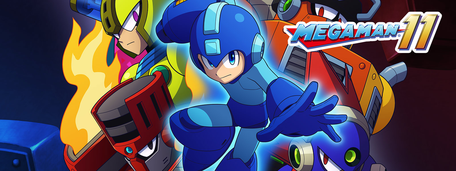 Mega Man 11, Mega Man readies his buster in front of a collage of robot masters
