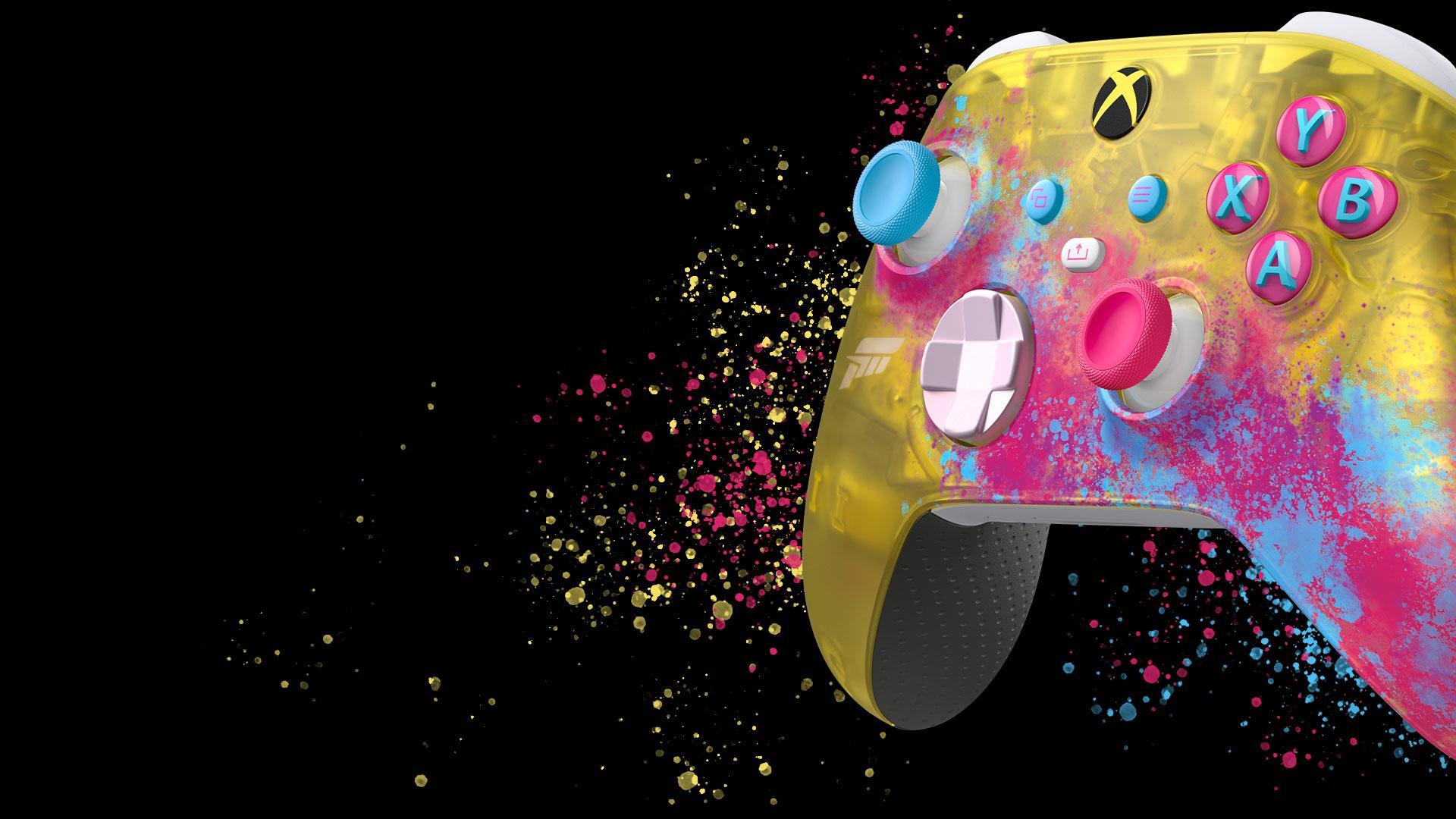 Control personalizado de Forza Horizon 5 con salpicaduras de color amarillo, rosa y azul