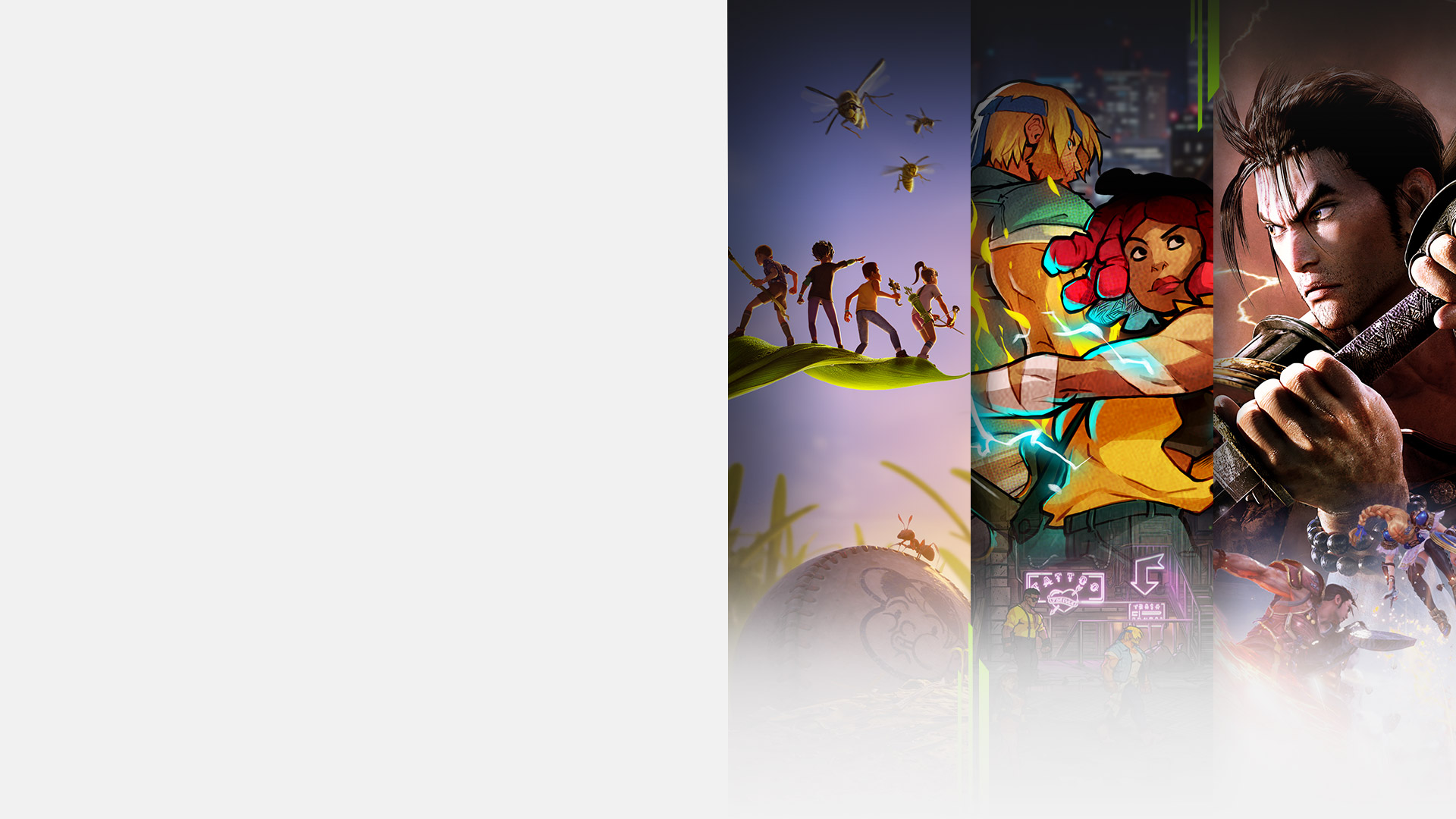 Game art from multiple games available with Xbox Game Pass including Grounded, Streets of Rage 4, SoulCalibur VI, and Minecraft Dungeons.