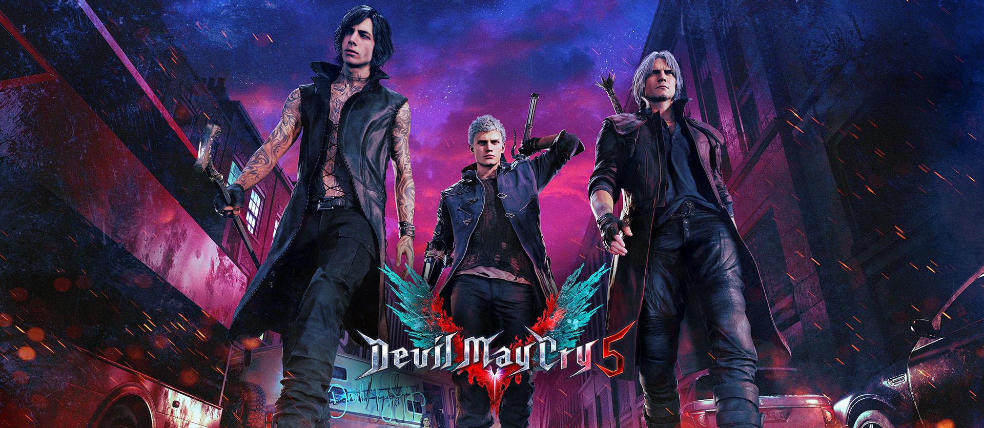 Devil May Cry 5, Front view of demon hunters Nero, Dante and V walking down a street