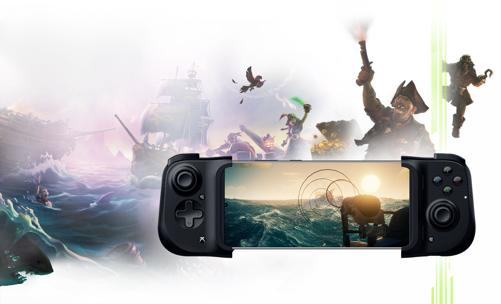 A Razer Kishi controller attached to a mobile phone showing Sea of Thieves gameplay