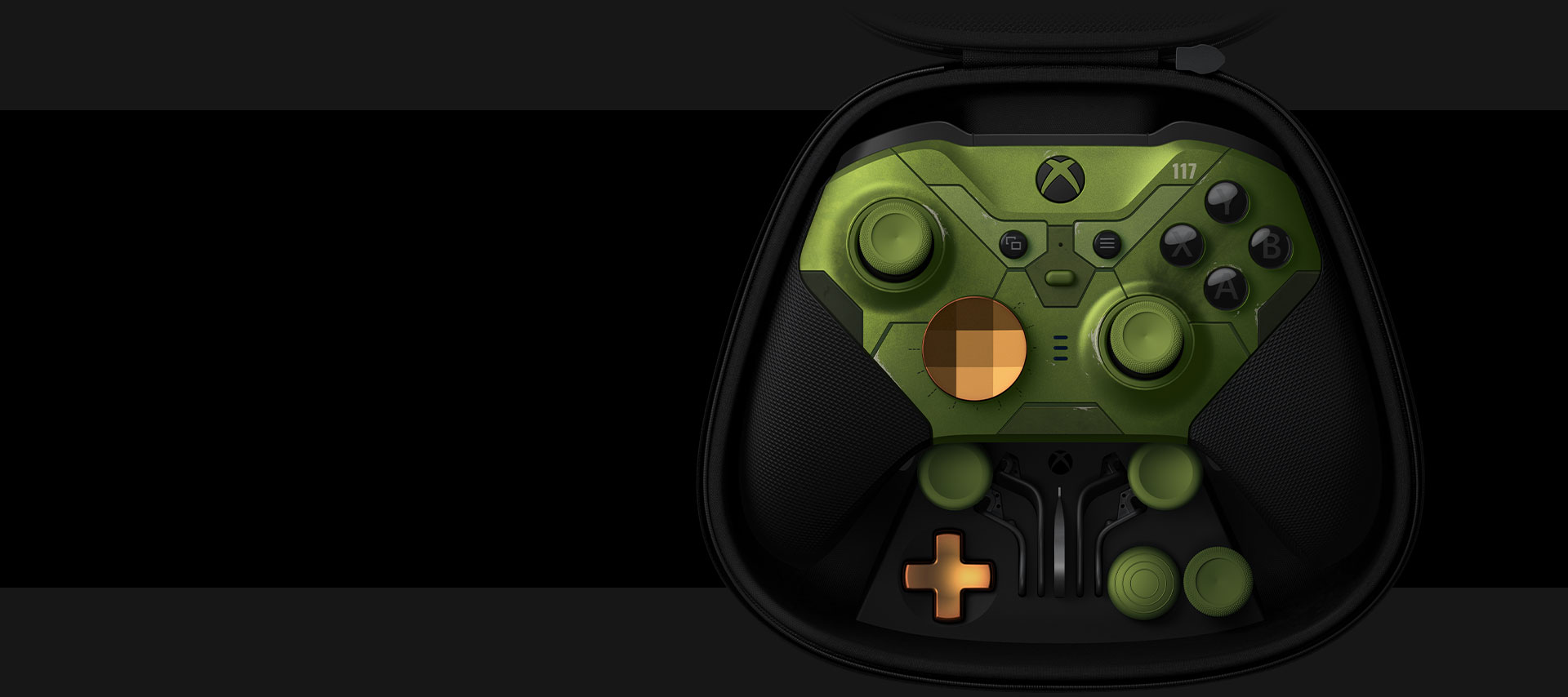 Xbox Elite Wireless Controller Series 2 - Halo Infinite Limited Edition in the controller case with interchangeable parts