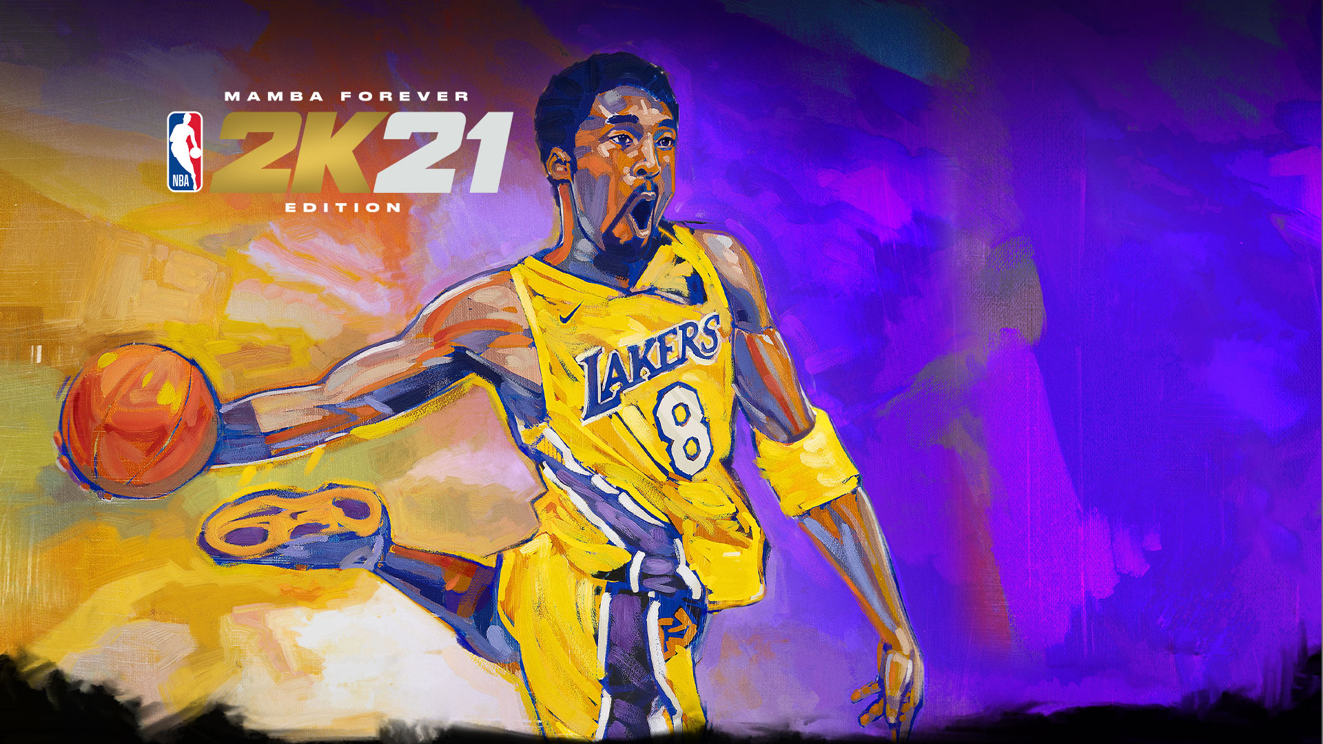 Mamba Forever Edition, NBA 2K21, Painting of Kobe Bryant going in for a dunk