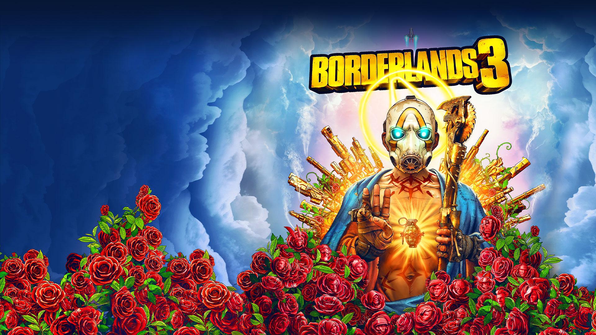 Borderlands 3, un personaje psicópata, sentado en un trono de armas, muestra 3 dedos