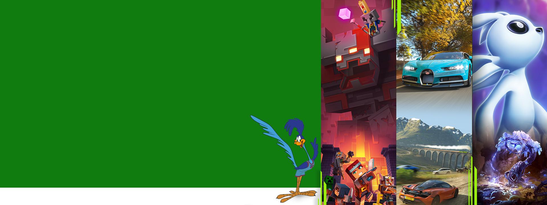 Road Runner neben Game-Art für Minecraft Dungeons, Forza Horizon 4 und Ori and the Will of the Wisps, alle spielbar mit Xbox Game Pass