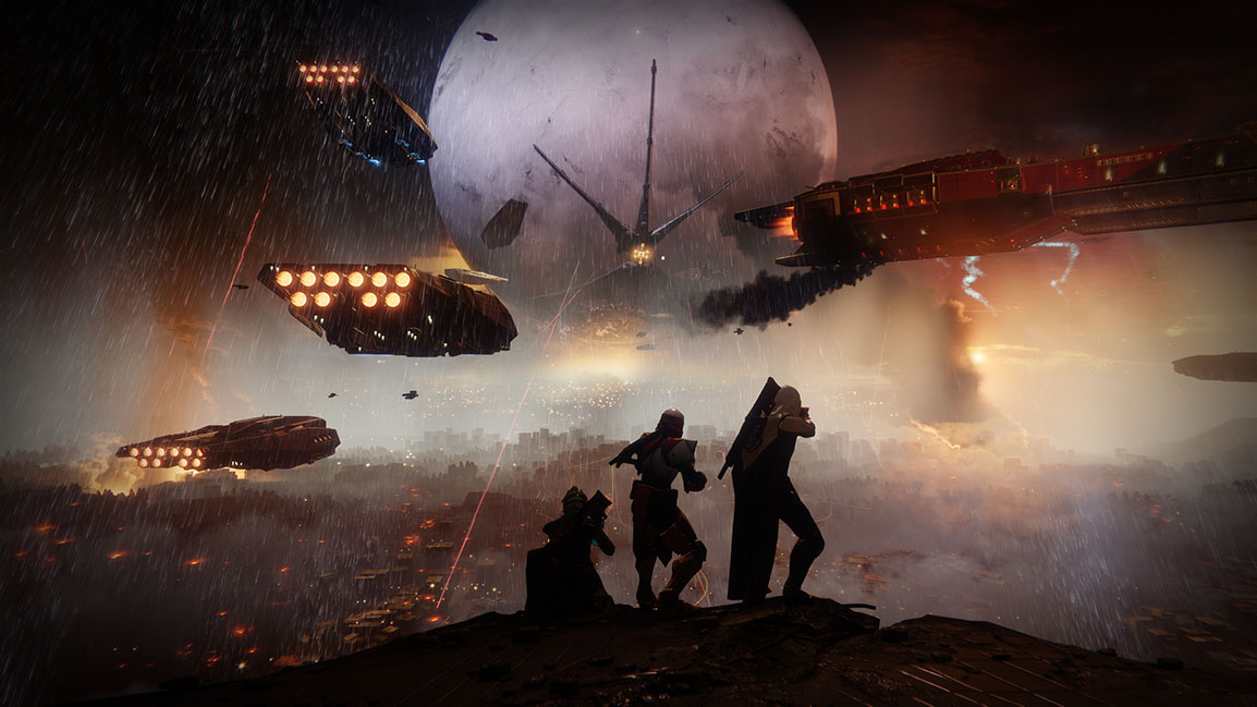 Back view of three guardians watching Cabal take power from the Traveler