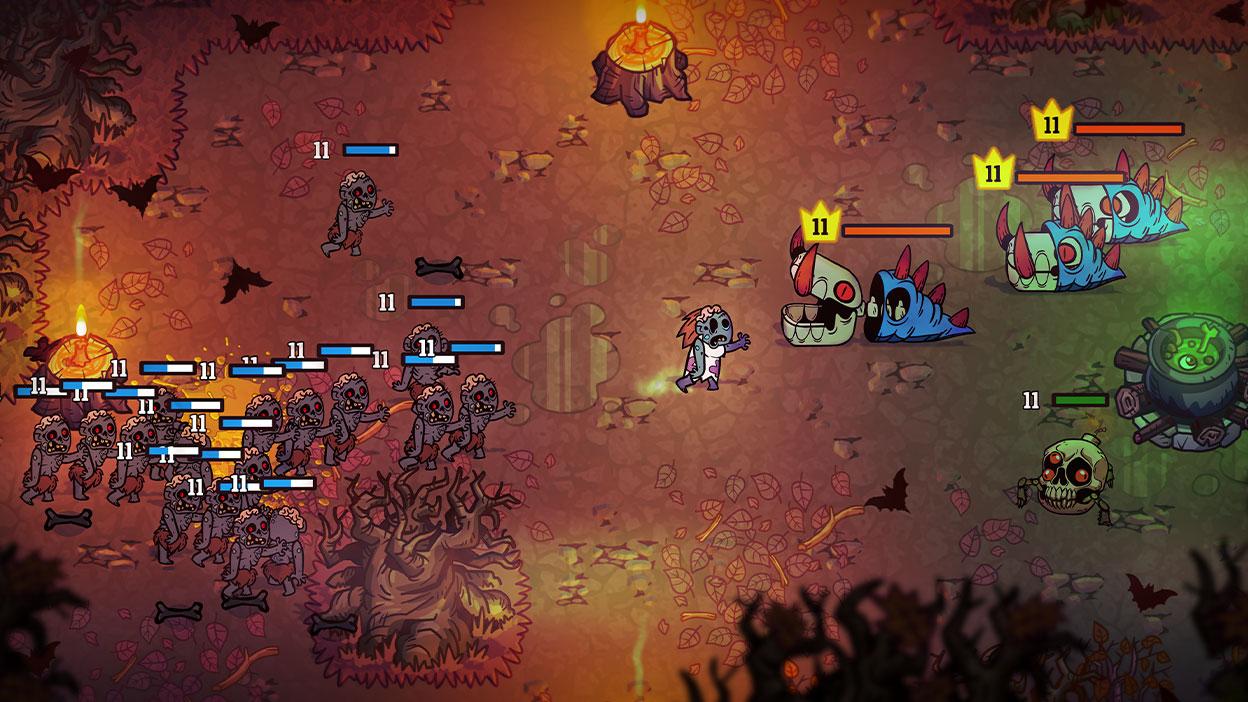 Screenshot uit de game van een gevecht tussen zombies en slangenwezens.