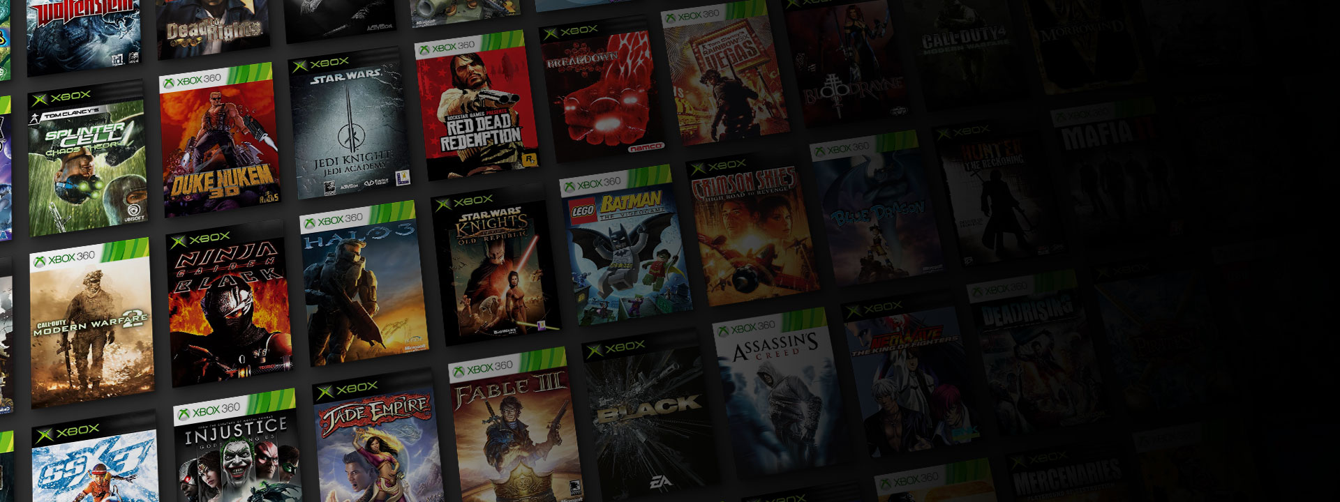 An collection of Xbox and Xbox 360 box shots