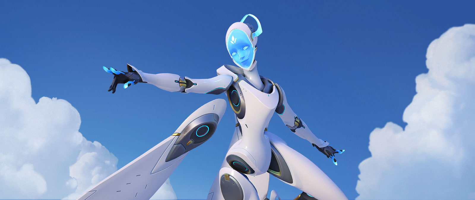 Overwatch character Echo flying through the sky in a white suit with robotic wings.
