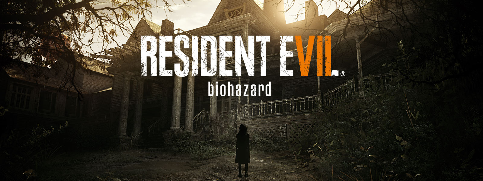 Resident Evil 7 Biohazard Gold Edition boxshot over scene of spooky girl standing in front of haunted house