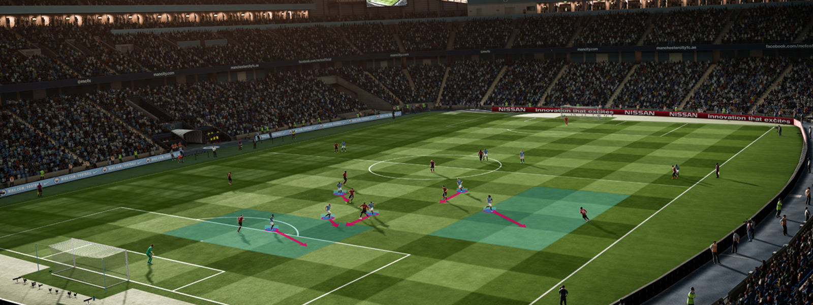 Over field view of a FIFA game