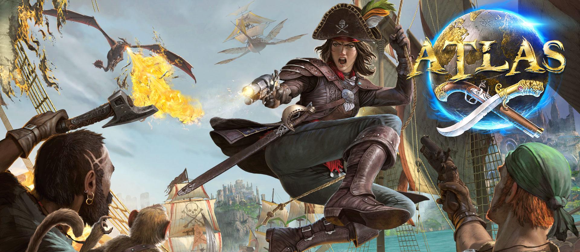 Logo Atlas, personnage féminin sur une corde attaquant deux autres personnages avec des armes et un singe, avec un navire volant et un dragon crachant du feu en arrière-plan