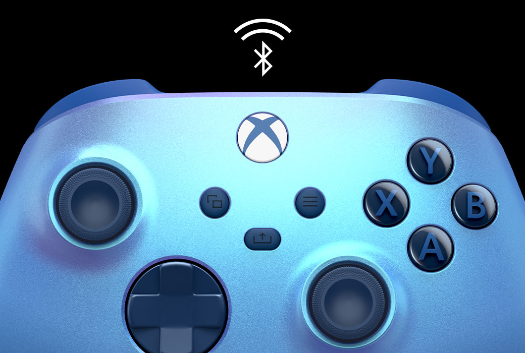 Detailní pohled na bezdrátový ovladač pro Xbox Aqua Shift s ikonou Bluetooth