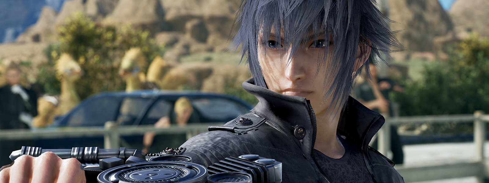 Front view of Noctis holding out a weapon