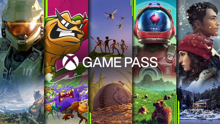 Xbox Game Pass. Ein Mosaik von Xbox-Spielen von links nach rechts: Halo Infinite, Battletoads, Grounded, No Man's Sky und Tell Me Why.