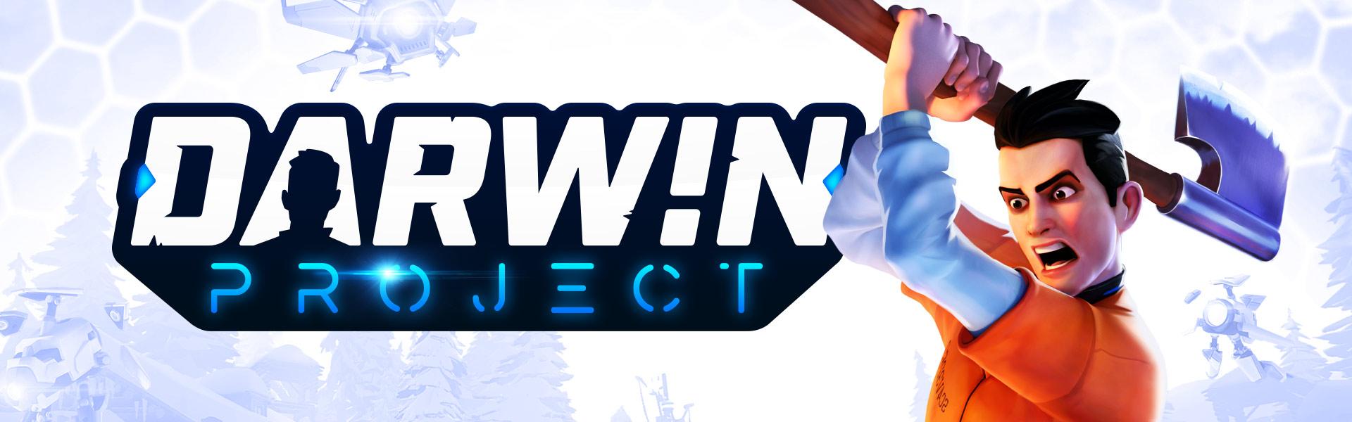 Darwin Project, mies pitelee kirvestä kohotettuna olkansa yli samalla, kun pieni robottilennokki katsoo häntä