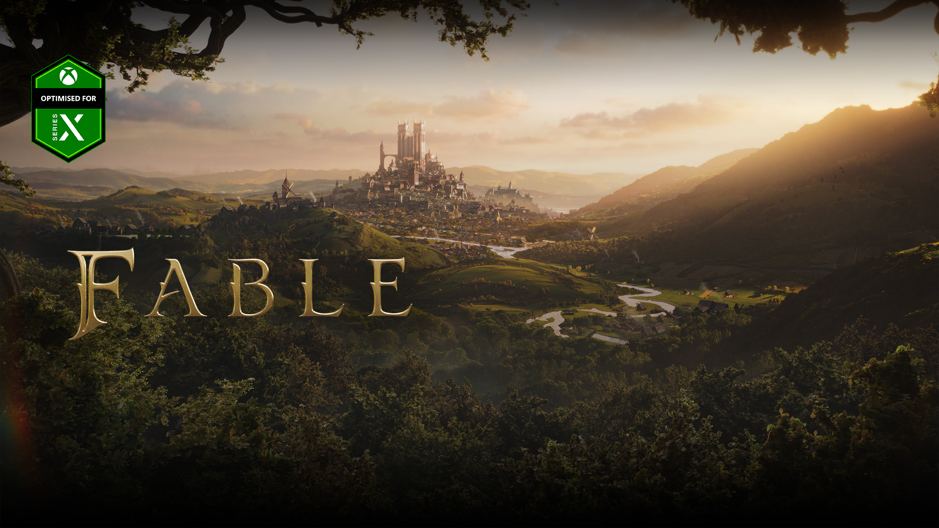 Optimised for Xbox Series X logo, Fable, a city past a forest and valleys