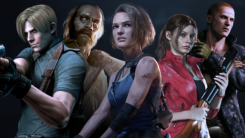 A collection of characters from games that are part of the Resident Evil Franchise Sale.
