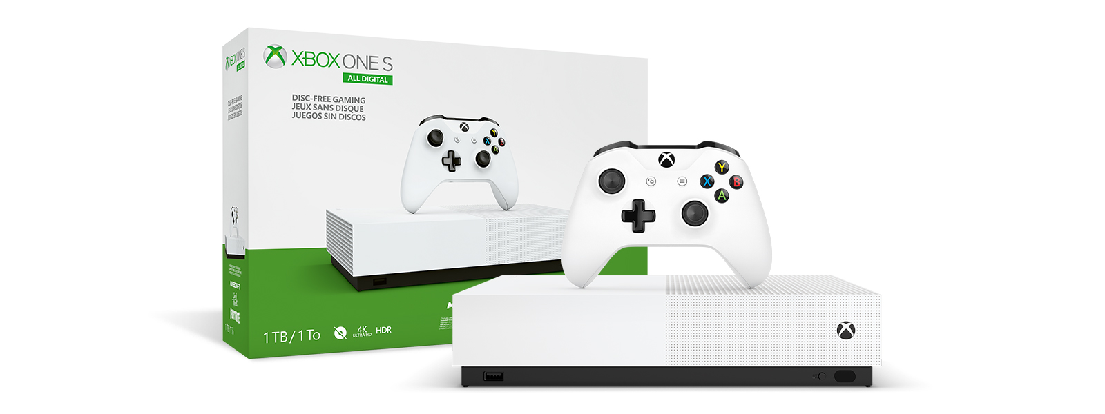Xbox One S All-Digital Edition product box and Xbox One S All-Digital Edition