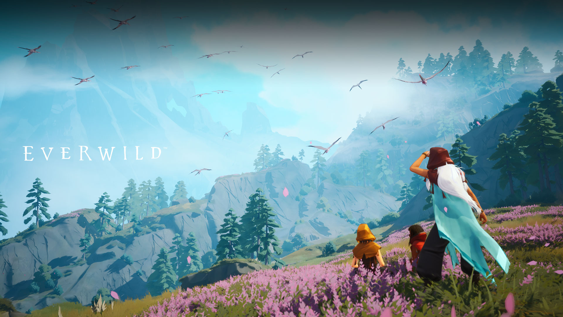 Everwild. Three characters in a field with mountains, birds and trees.