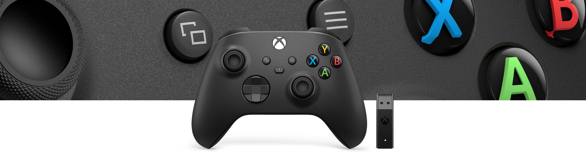 Xbox Wireless Controller + Wireless Adapter for Windows 10  with a closeup of controller surface texture