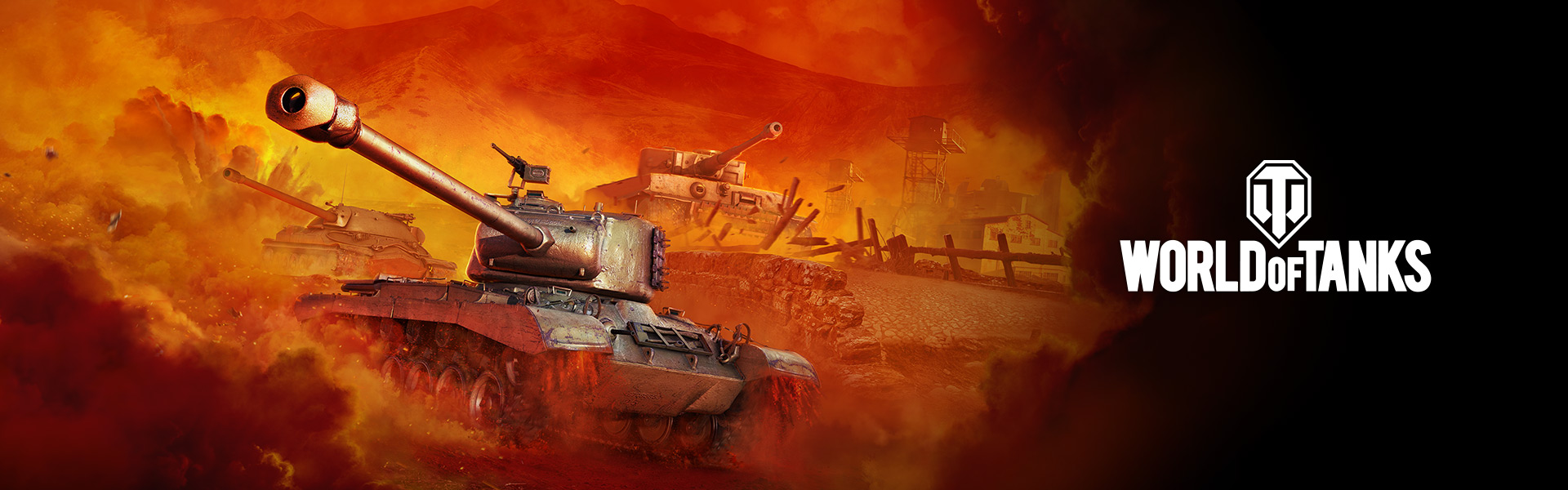 World of Tanks logo with various tanks rolling over terrain behind them