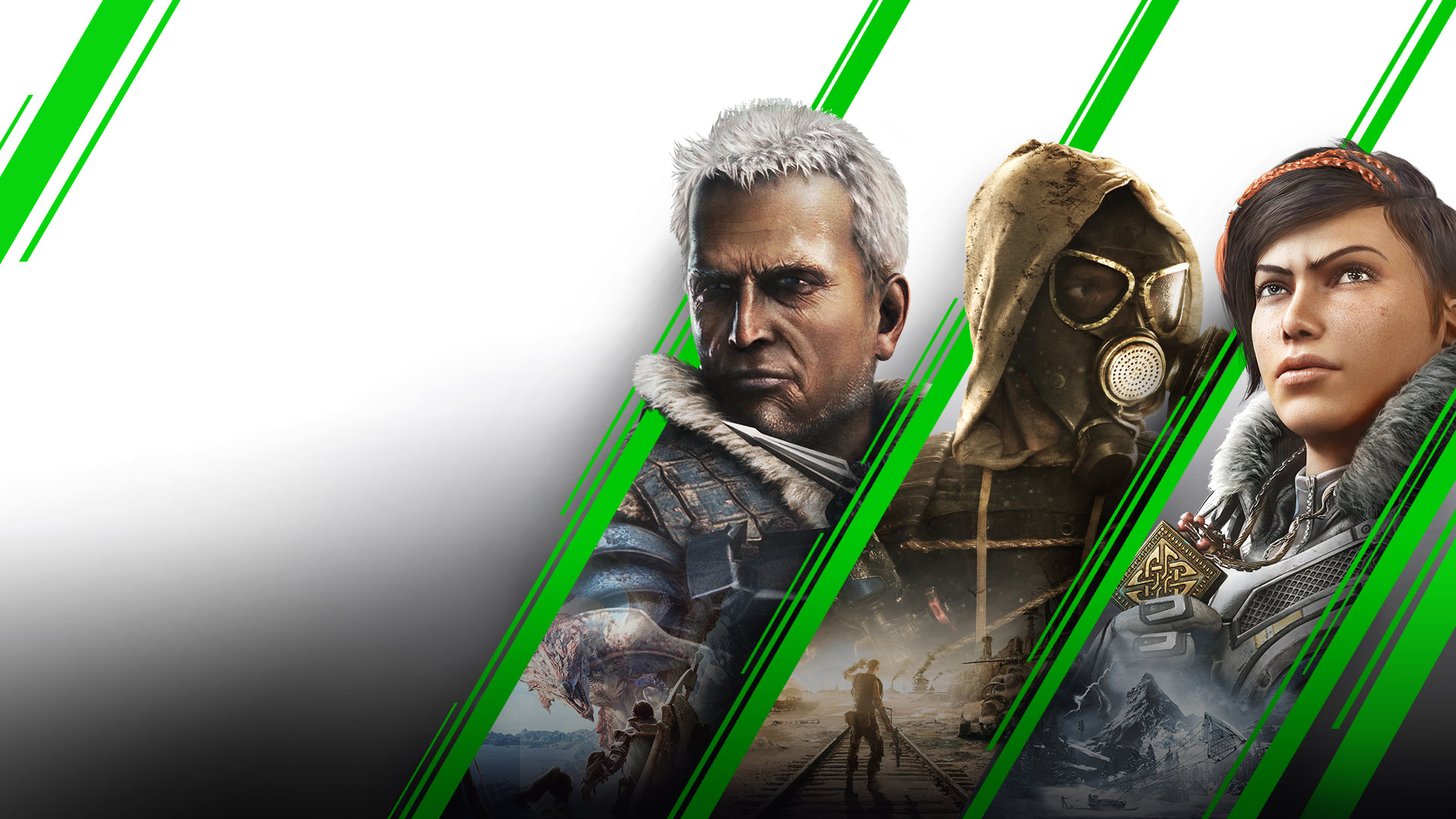 Un collage de juegos disponibles en Xbox, como Monster Hunter World, Metro Exodus y Gears 5.
