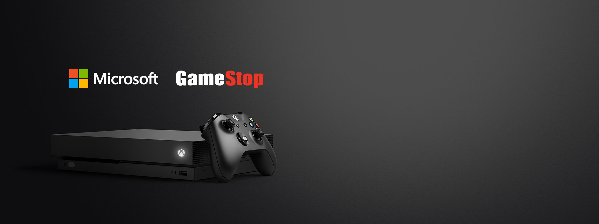 Microsoft and GameStop logo above and front view of an Xbox One X
