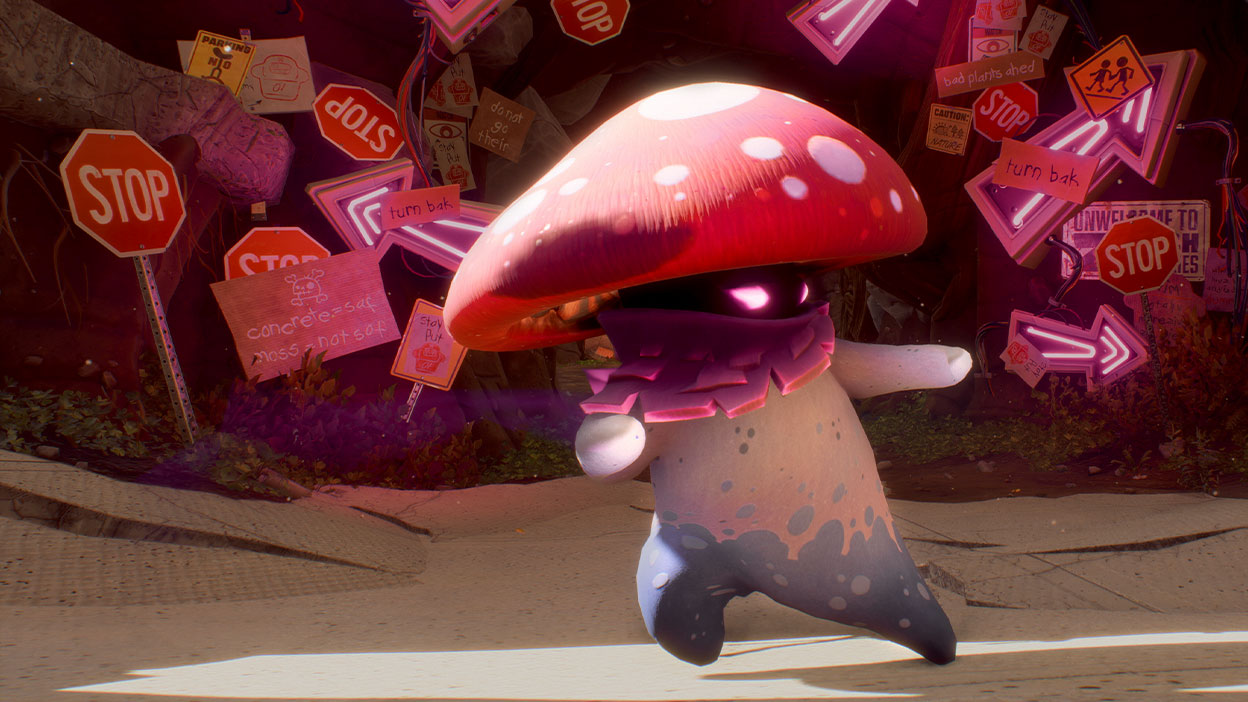 Mushroom character in front of many signs