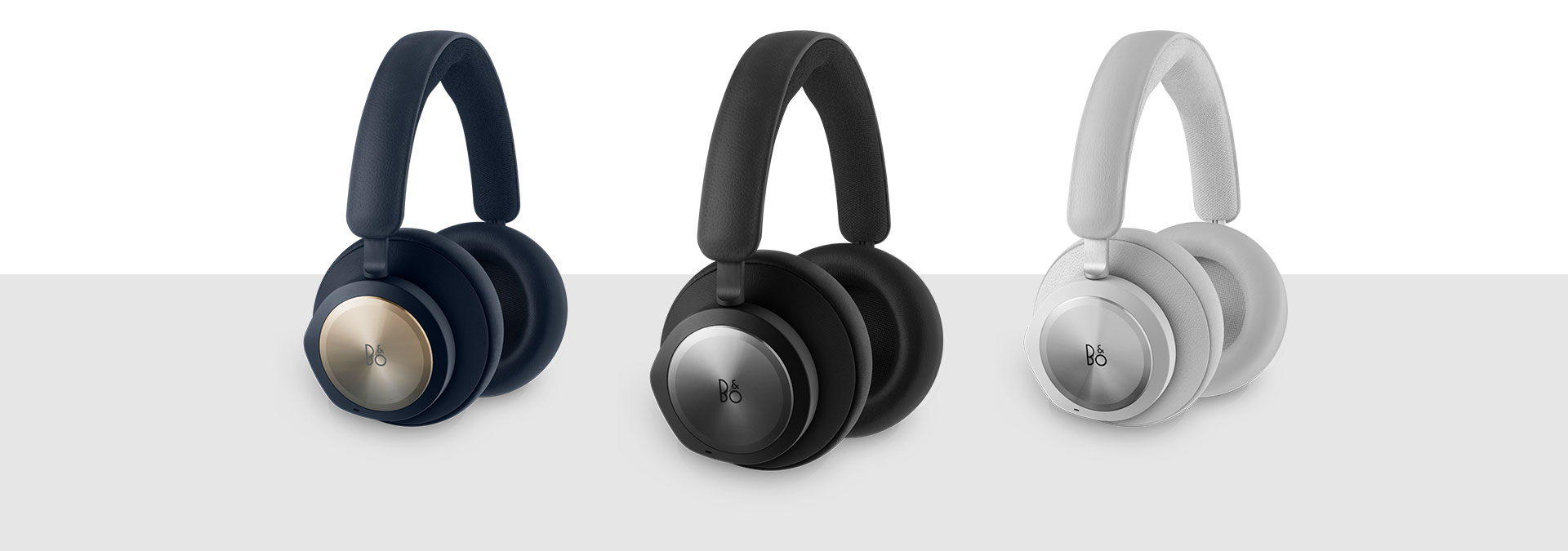 Bang and Olufsen black, grey, and navy headset