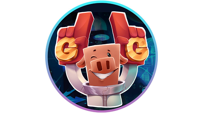 Minecraft Player Pig with hands in the air