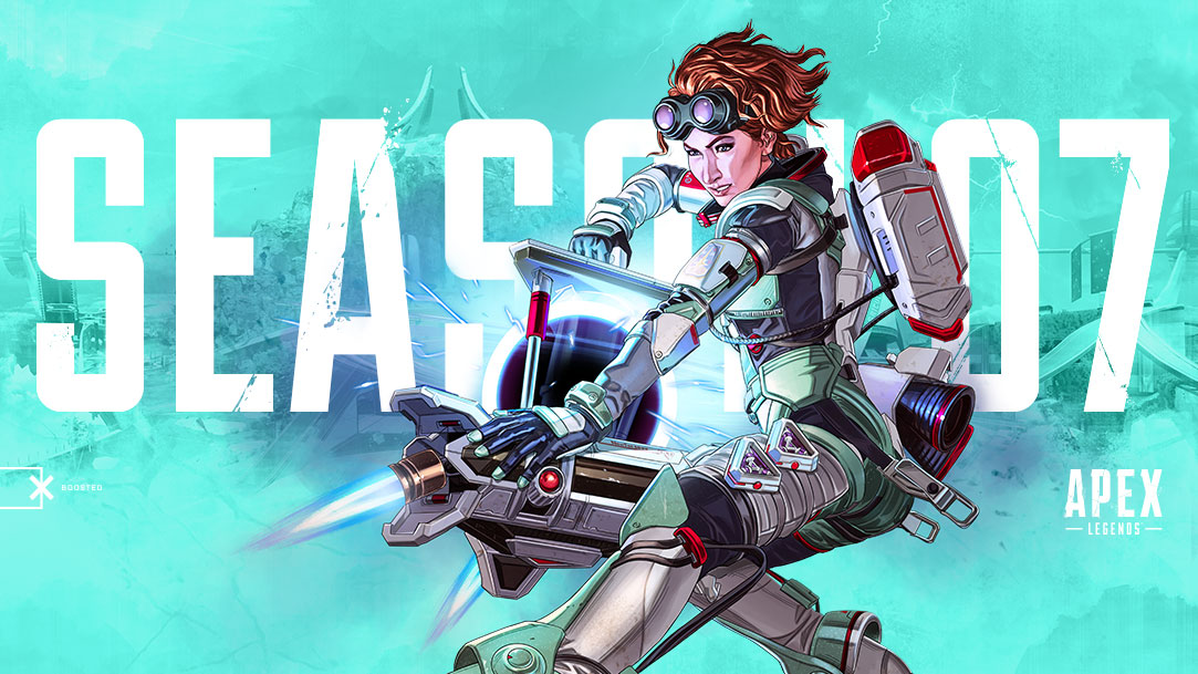 Apex Legends Season 7, New legend Horizon hold a large electronic device.