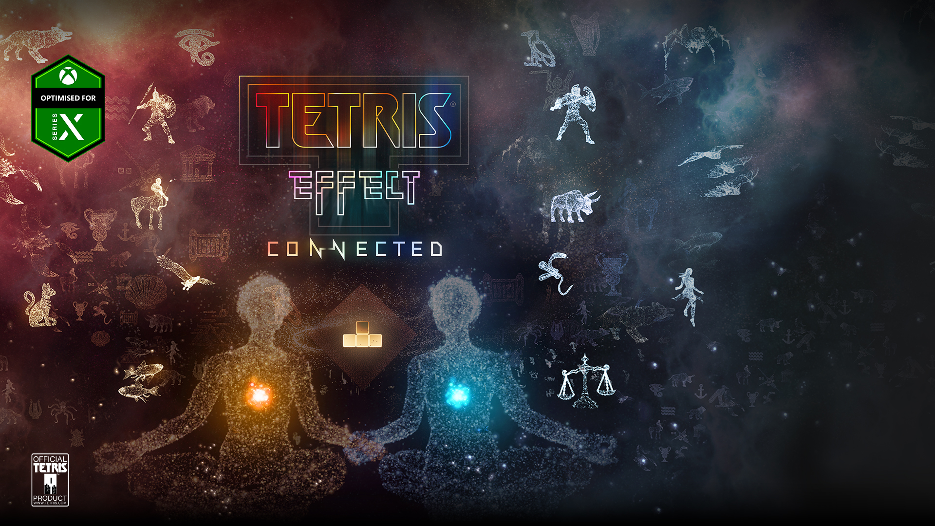 Optimised for Series X, Tetris Effect Connected, Official Tetris Product, a vast landscape of stars arranges to form animals and people.