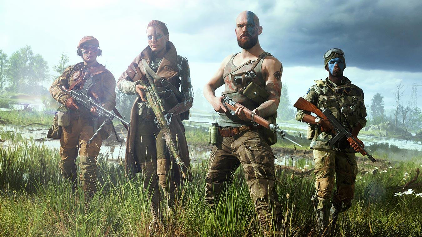 Vista frontal de unos soldados con pintura de guerra azul