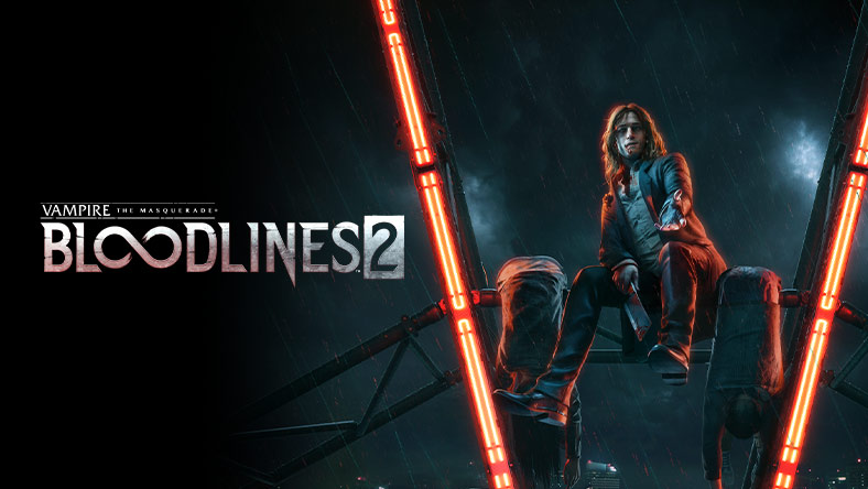 "Vampire: The Masquerade – Bloodlines 2. A vampire sits atop a metal structure between two red neon lights that form a ""V""."