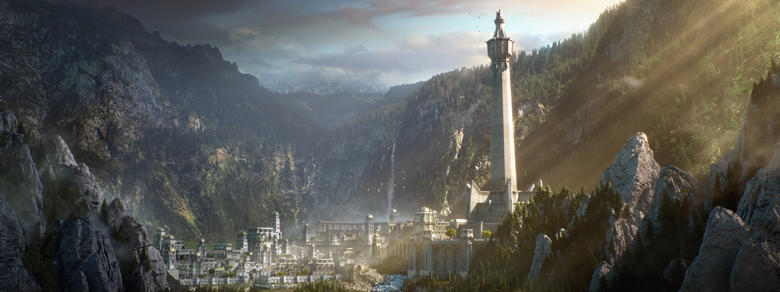 Sun shining on the white marble city of Minas Ithil from the game Middle-earth: Shadow of War