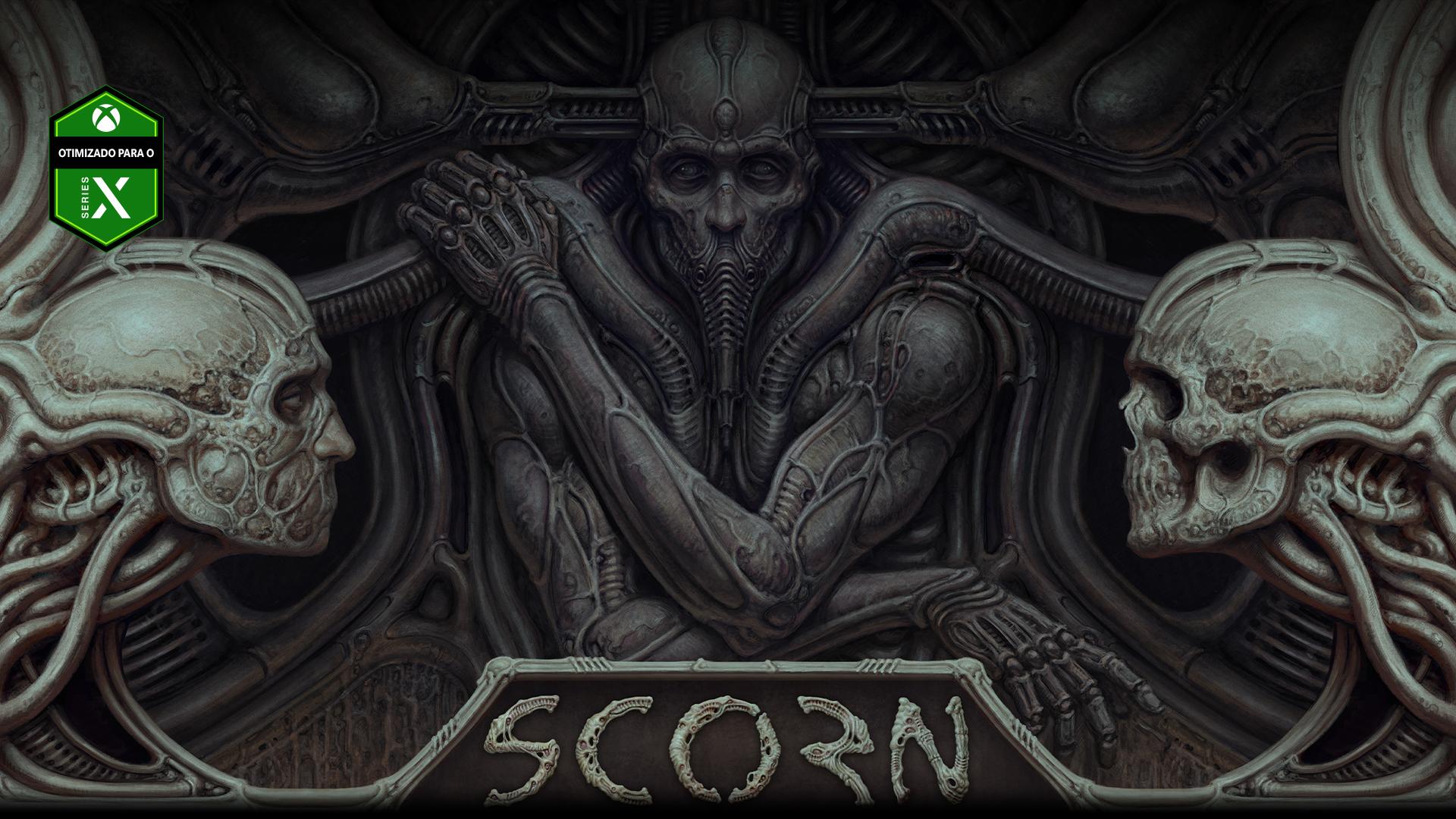 Personagem de Scorn incorporado a uma parede com duas cabeças de caveira.