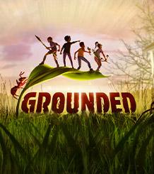 Grounded, en myre kravler op ad et blad i græsset, mens den holder 4 formindskede menneskebørn
