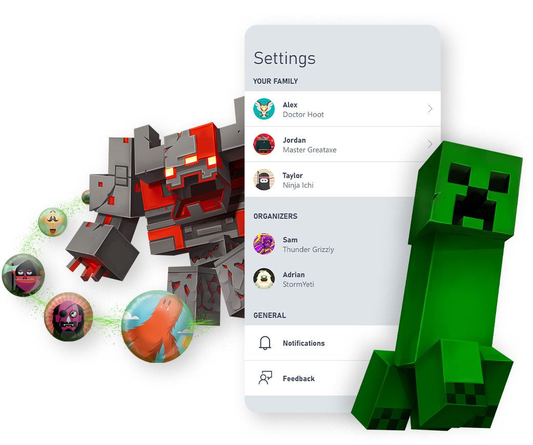 Les personnages de Minecraft entourent une capture d'écran de l'interface utilisateur de l'application Xbox Family Settings.